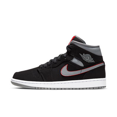 Nike Air Jordan 1 Mid (Black / Particle Grey - White - Gym Red) productafbeelding