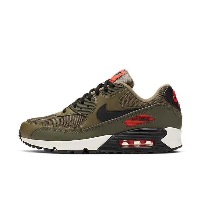 Nike Air Max 90 Essential (Medium Olive / Black - Team Orange)