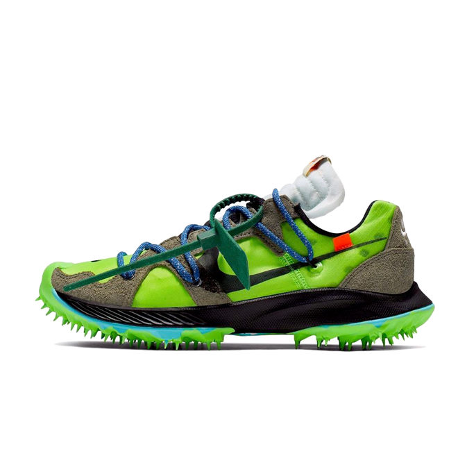 Off White X Nike Zoom Terra Kiger 4 'Electric Green' zijaanzicht
