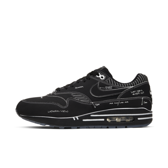 Nike Air Max 1 QS 'Sketch to Shelf' Black zijaanzicht