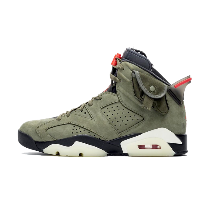 Travis Scott X Air Jordan 6 'Medium Olive' zijaanzicht