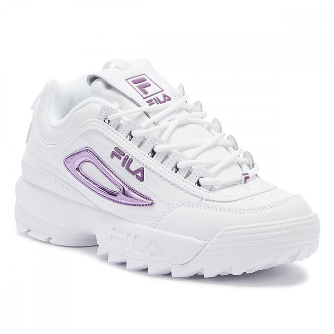 Fila Disruptor II Womens Metallic White / Lavender Trainers