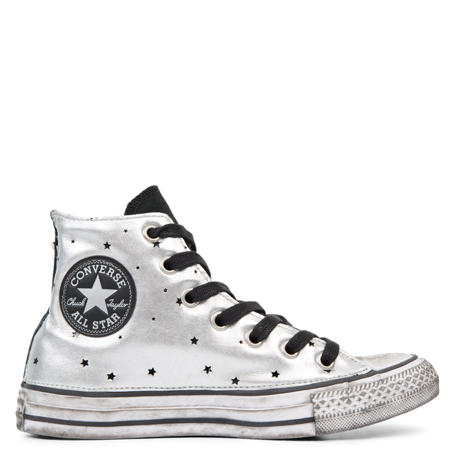 Chuck Taylor All Star Metallic Silver Star Leather High Top