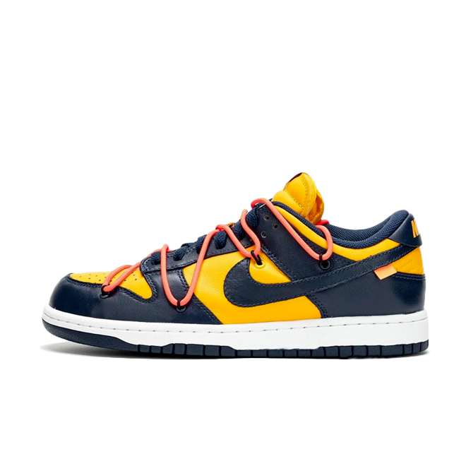 Off White X Nike Dunk Low 'Navy/Yellow' zijaanzicht