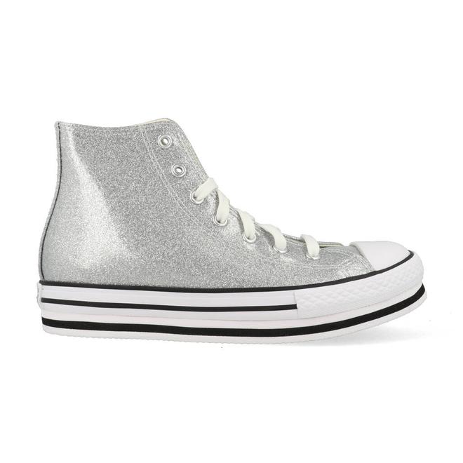 Converse All Stars Chuck Taylor Platform 666400C Zilver Wit   666400C   Sneakerjagers