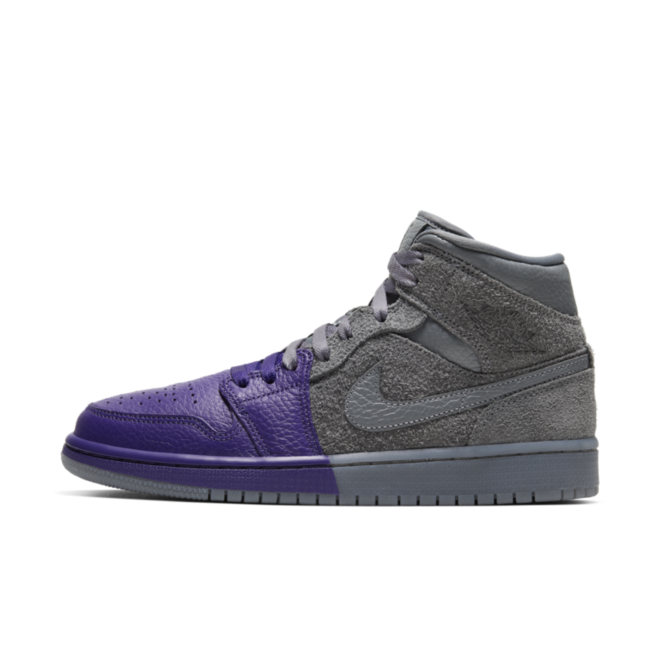 Air Jordan 1 Mid 'Grey/Purple' zijaanzicht