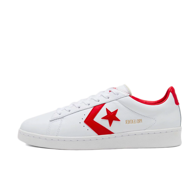 Converse Pro Leather 'White/Red' zijaanzicht