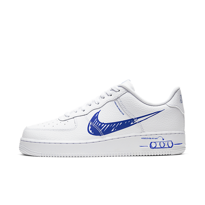 Nike Air Force 1 LV8 Utility Schematic 'White/Blue' zijaanzicht