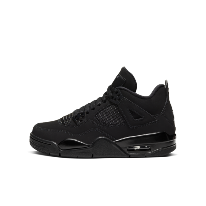 Air Jordan 4 Retro GS 'Black Cat' zijaanzicht