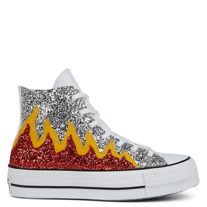 Glitter Flames Platform Chuck Taylor All Star High Top voor dames