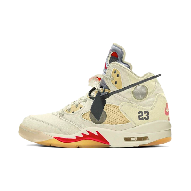 Off-White X Air Jordan 5 'Sail' zijaanzicht
