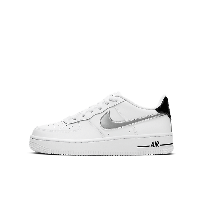 Nike Air Force 1 Low White Black Metallic Silver (GS)