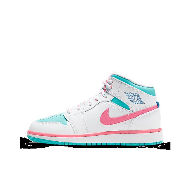 Jordan 1 Mid White Pink Green Soar (GS)