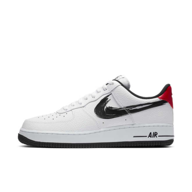 Nike Air Force 1 'Brush Swoosh' - Black zijaanzicht