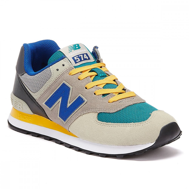 New Balance 574 Mens Grey / Blue / Yellow Trainers