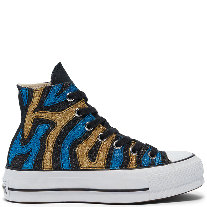 Gold & Blue Glitter Platform Chuck Taylor All Star High Top