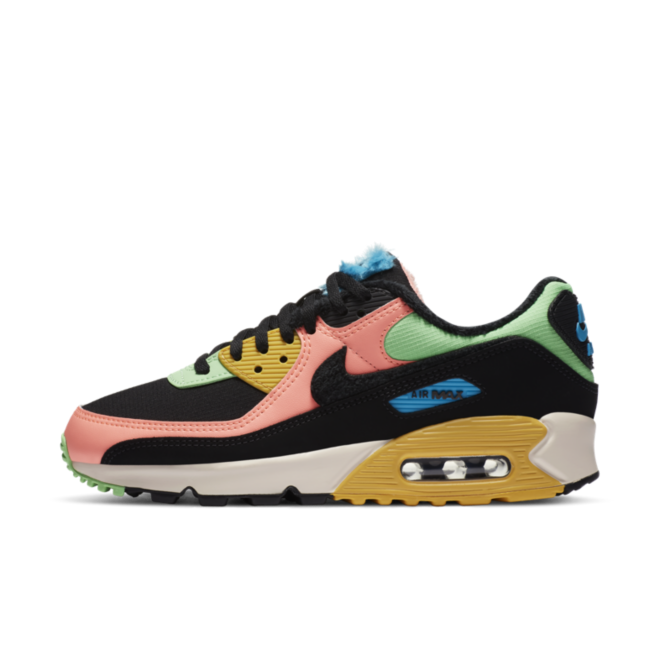 Nike Air Max 90 Fur 'Green/Pink' zijaanzicht