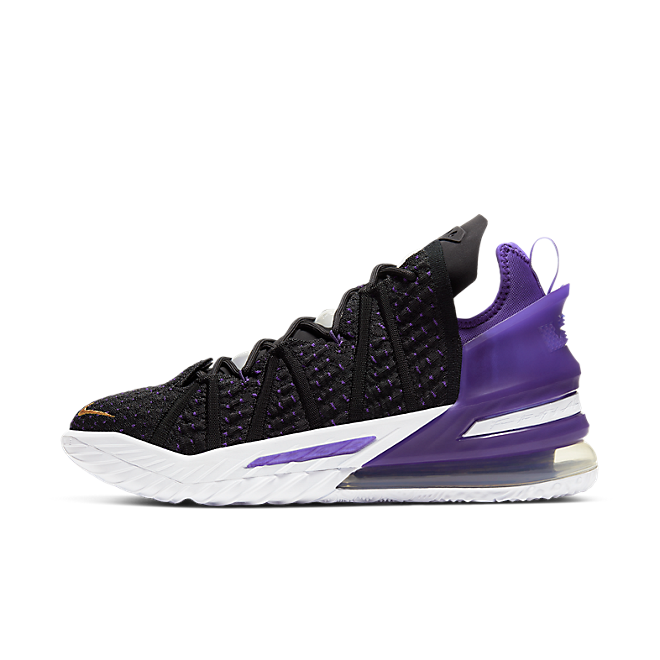 Nike LeBron 18 Lakers zijaanzicht