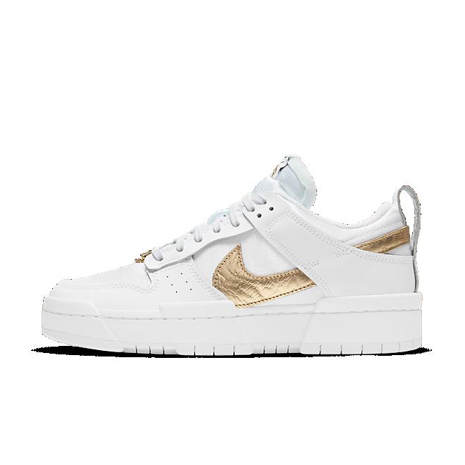 Nike Dunk Low Disrupt White Metallic Gold (W)