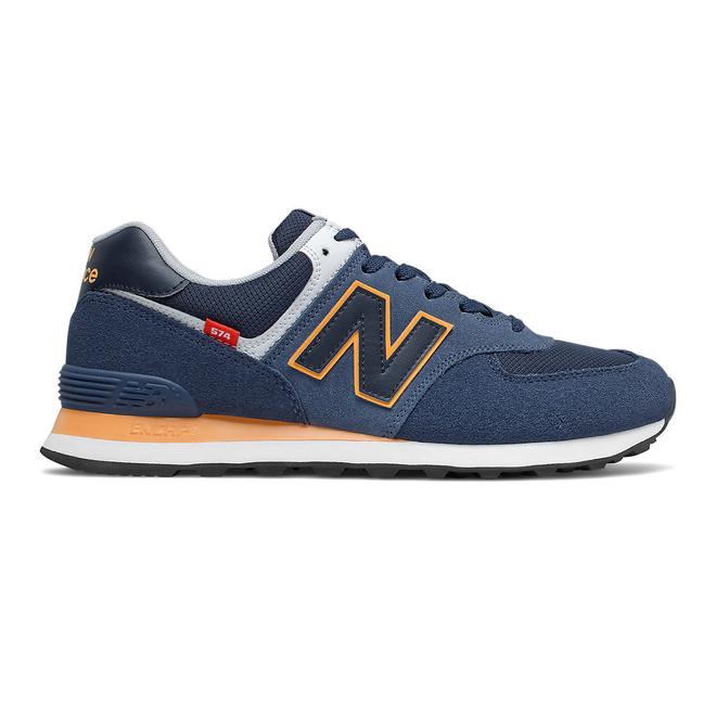 New Balance 574 - Natural Indigo with Habanero