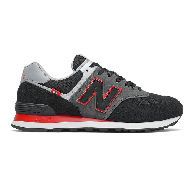 New Balance 574 - Black with Velocity Red