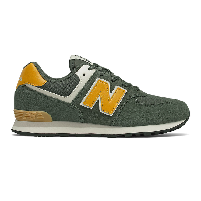 New Balance 574 - Black Spruce with Team Gold