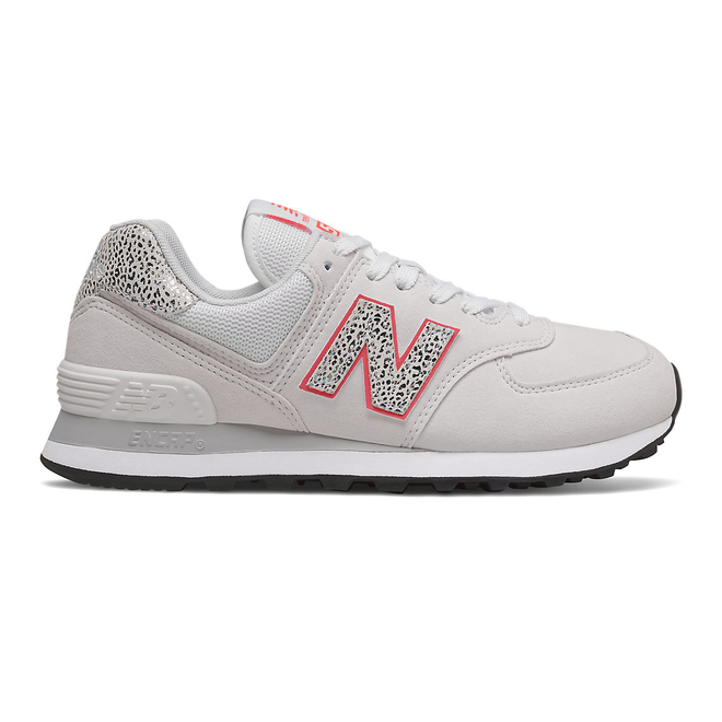 New Balance 574 - White with Vivid Coral