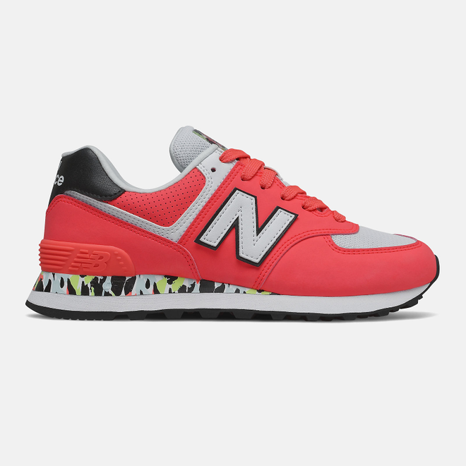New Balance 574 - Vivid Coral with White