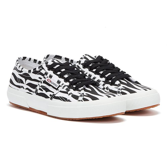 Superga 2750 Cotu Zebra Print Womens White / Black Trainers