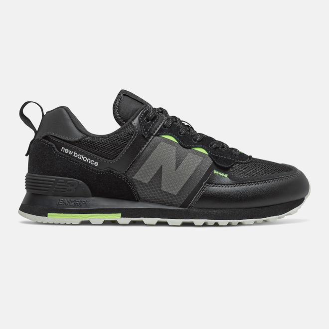New Balance 574 - Black with Bleached Lime Glo