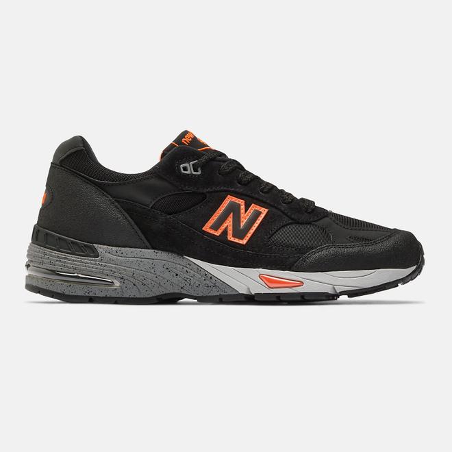 New Balance Made in UK 991 - Black with Neon Orange