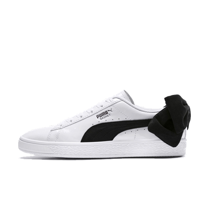 factory price first look official images Puma Suede Bow Patent 'White/Black' | 367353-03