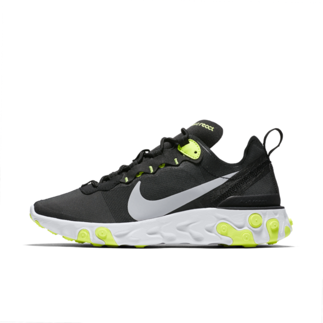 Nike WMNS React Element 55 'Black/Volt' zijaanzicht
