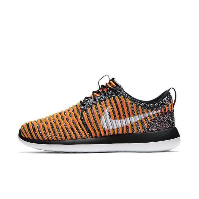 Nike Wmns Roshe Two Flyknit (Black / White - Bright Mango - Gold Lead)