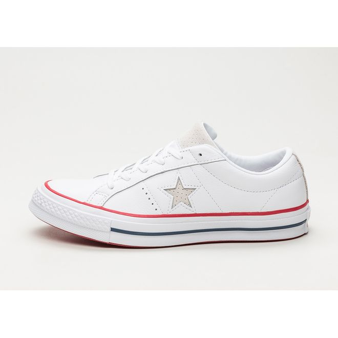 Converse One Star Ox (White / Gym Red / White)