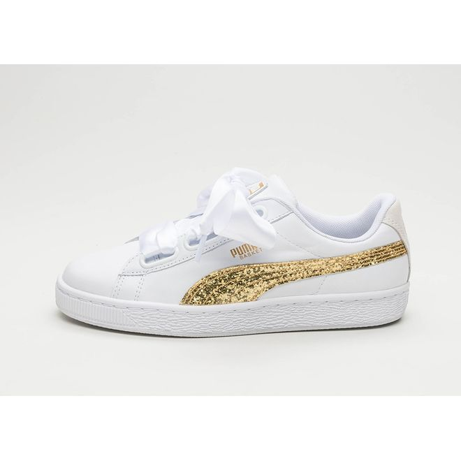 Puma Basket Heart Glitter (Puma White / Gold) | 364078 01 | Sneakerjagers