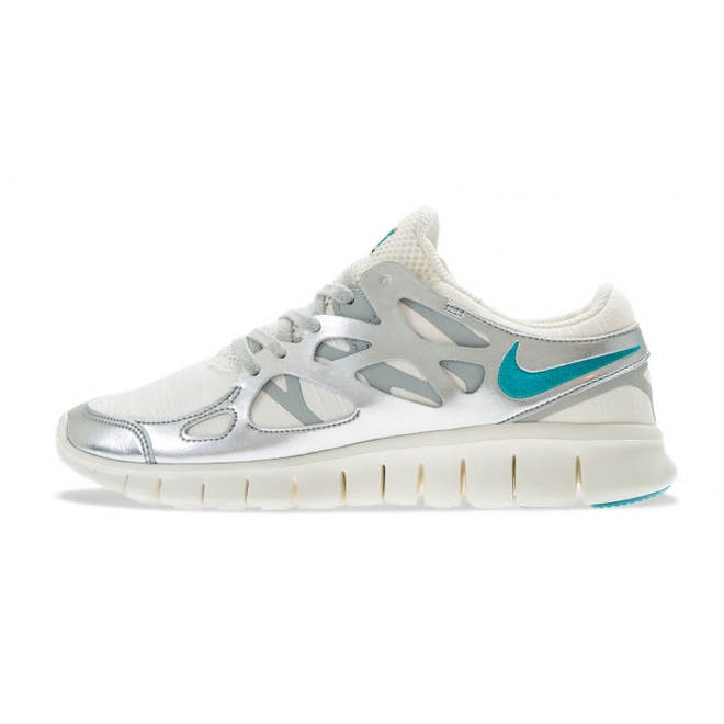 Nike Wmns Free Run +2 Prm Sail/sport Turquoise Metallic Silver