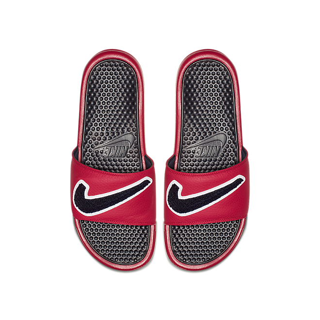 Nike Benassi Just Do It. Chenille Gym Red Obsidian-White-Dark Obsidian AO2805-600