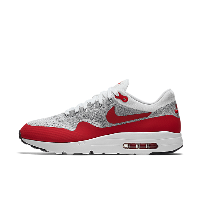 Nike Air Max 1 Ultra Flyknit (White/Pure Platinum-Cool Grey-University Red)
