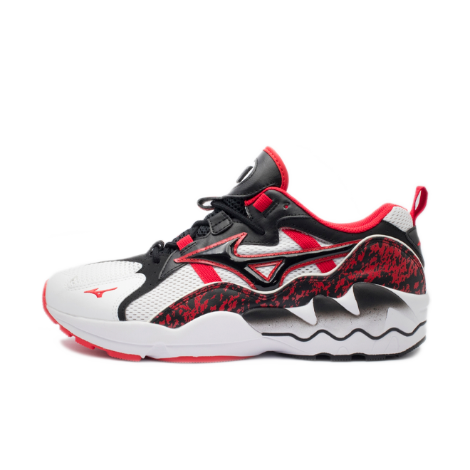 Mizuno Wave Rider 1 'High Risk Red' zijaanzicht