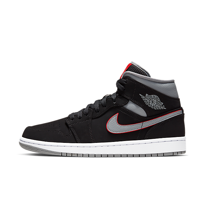 Nike Air Jordan 1 Mid (Black / Particle Grey - White - Gym Red) 554724 060